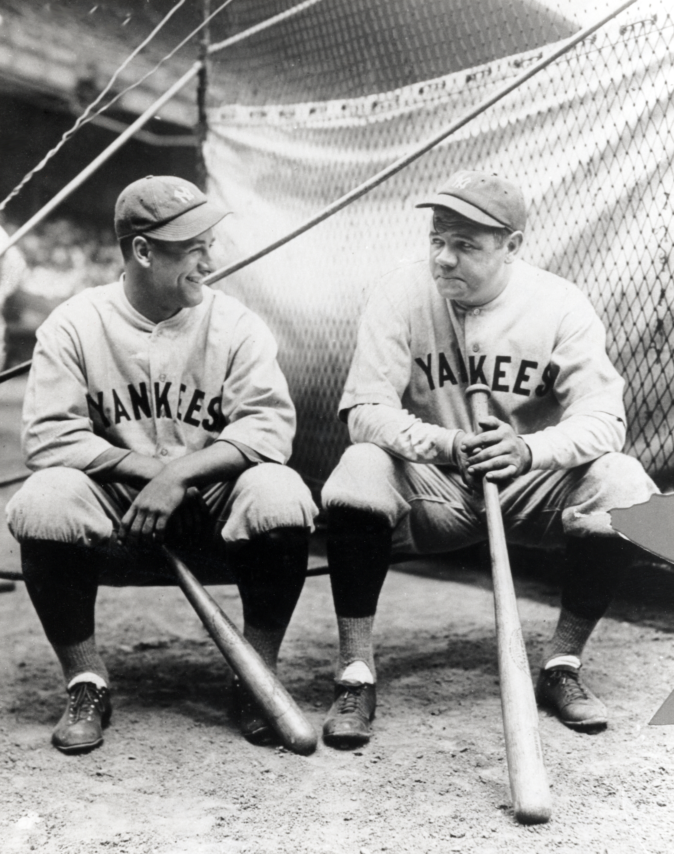 Lou Gehrig (left) and Babe Ruth (right) at League Park in 1927.