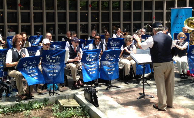 Cleveland Clinic Concert Band performing in the Reading Garden of the Cleveland Public Library.