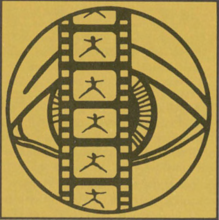 Illustration of an eye in a circle with a strip of film in front of it - frames depicting a stick figure dancing