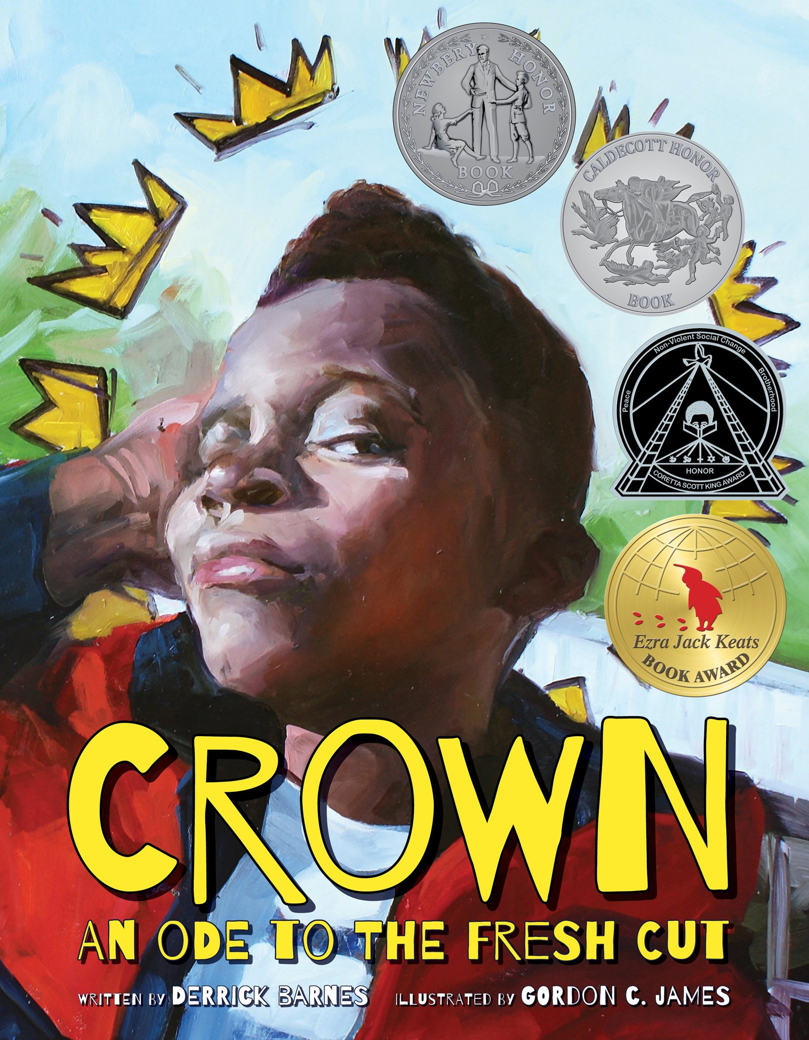 Image of African American child surrounded by crowns, book jacket for Crown.