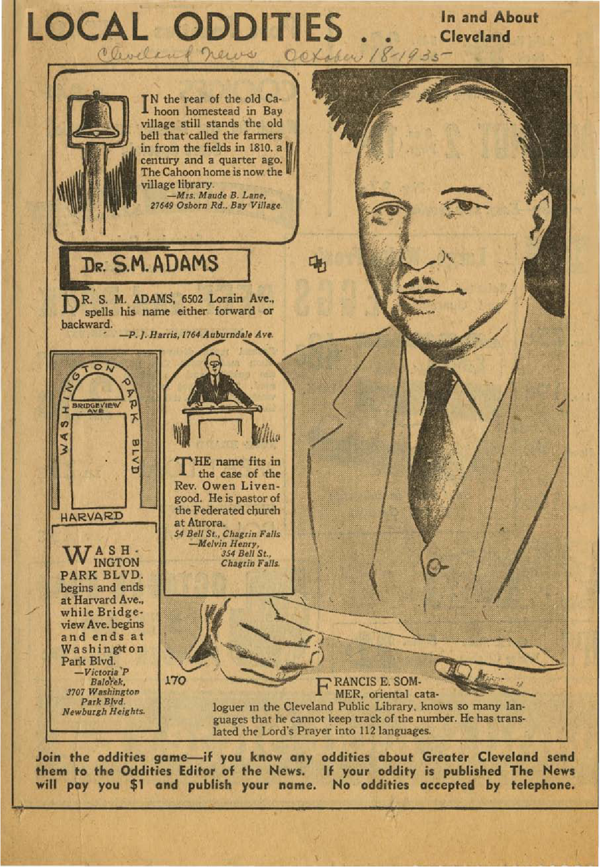 Local Oddities newspaper illustration of Frances E. Sommer, Special cataloger of languages in the John G. White Division of the Cleveland Public Library, and article about his work