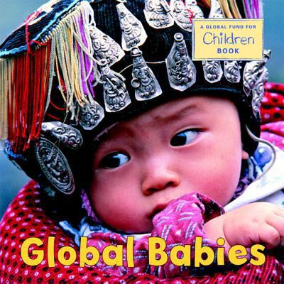 Global Babies jacket cover with a pciture of a baby with a beeded head dress with colored tassels hanging from it.