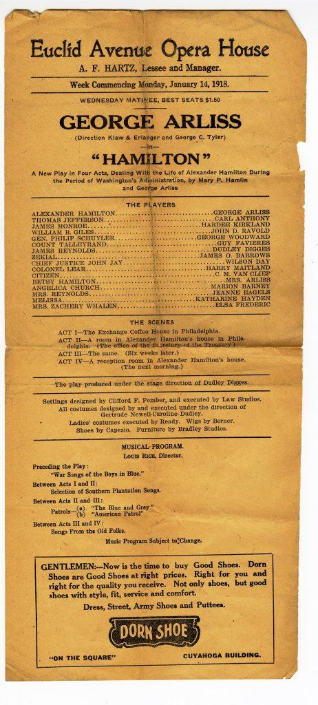 1918 playbill Hamilton Euclid Ave Opera