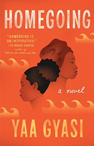 Homegoing by Yaa Gyasi (jacket cover). Line drawings of two African-American women's facial profiles.