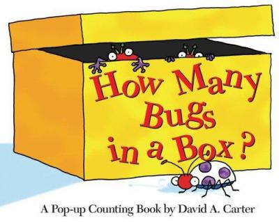 A yellow box with book title and a purple speckled lady bug illustration