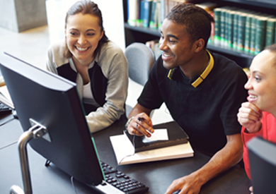 Take online courses with the assistance of a person in the library.