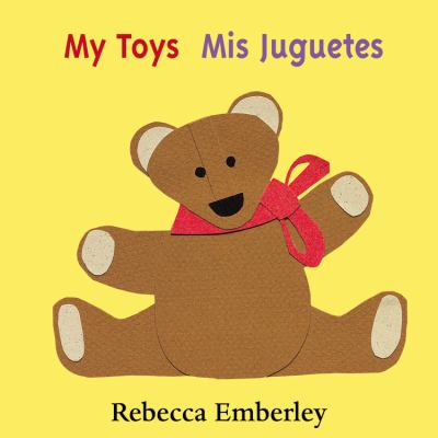 My Toys jacket cover, yellow with a brown teddy bear cartoon drawing with a red ribbon around his neck.