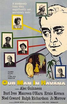 Our Man in Havana book jacket. Drawing of a man's face with colored lines coming out behind his face, each pointing to a picture of a person.