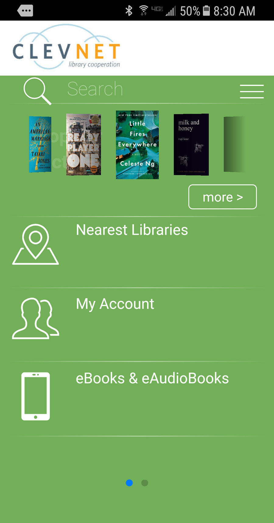 Screen shot of CLEVNET app main screen