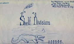 Envelope with drawing of an alegator and stick figure people and the words Shelf Division