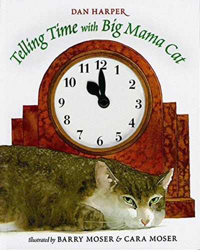 Illustration of a brown tiger striped cat laying in front of a large red clock
