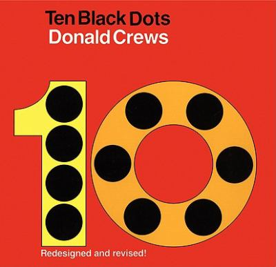 A yellow and orange number ten with black dots throughout