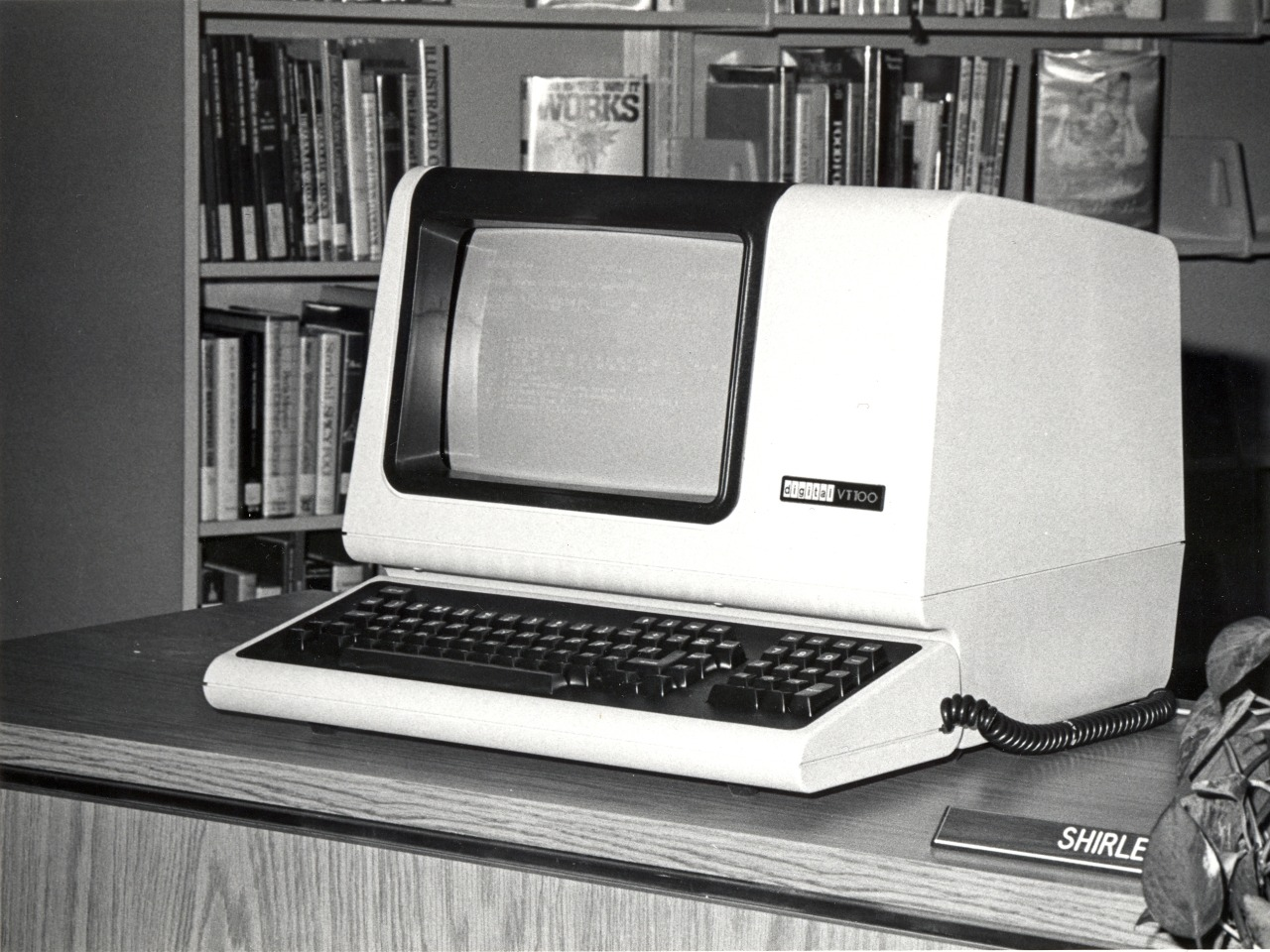 One of Cleveland Public Library's earliest Online Public Access Catalog (OPAC) computers. Experimental use began in 1980. 1.2 million titles were online by 1982.