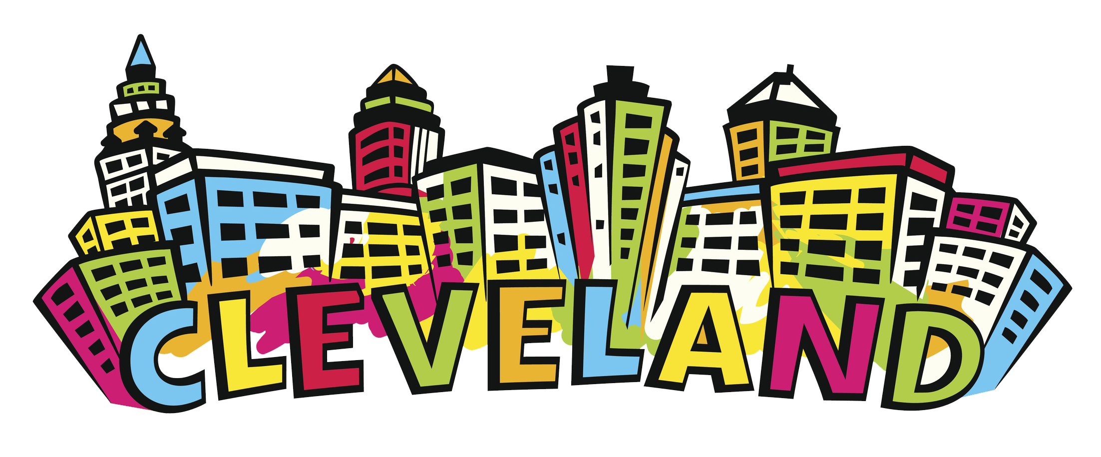 Cleveland Skyline silhouette in bright colors