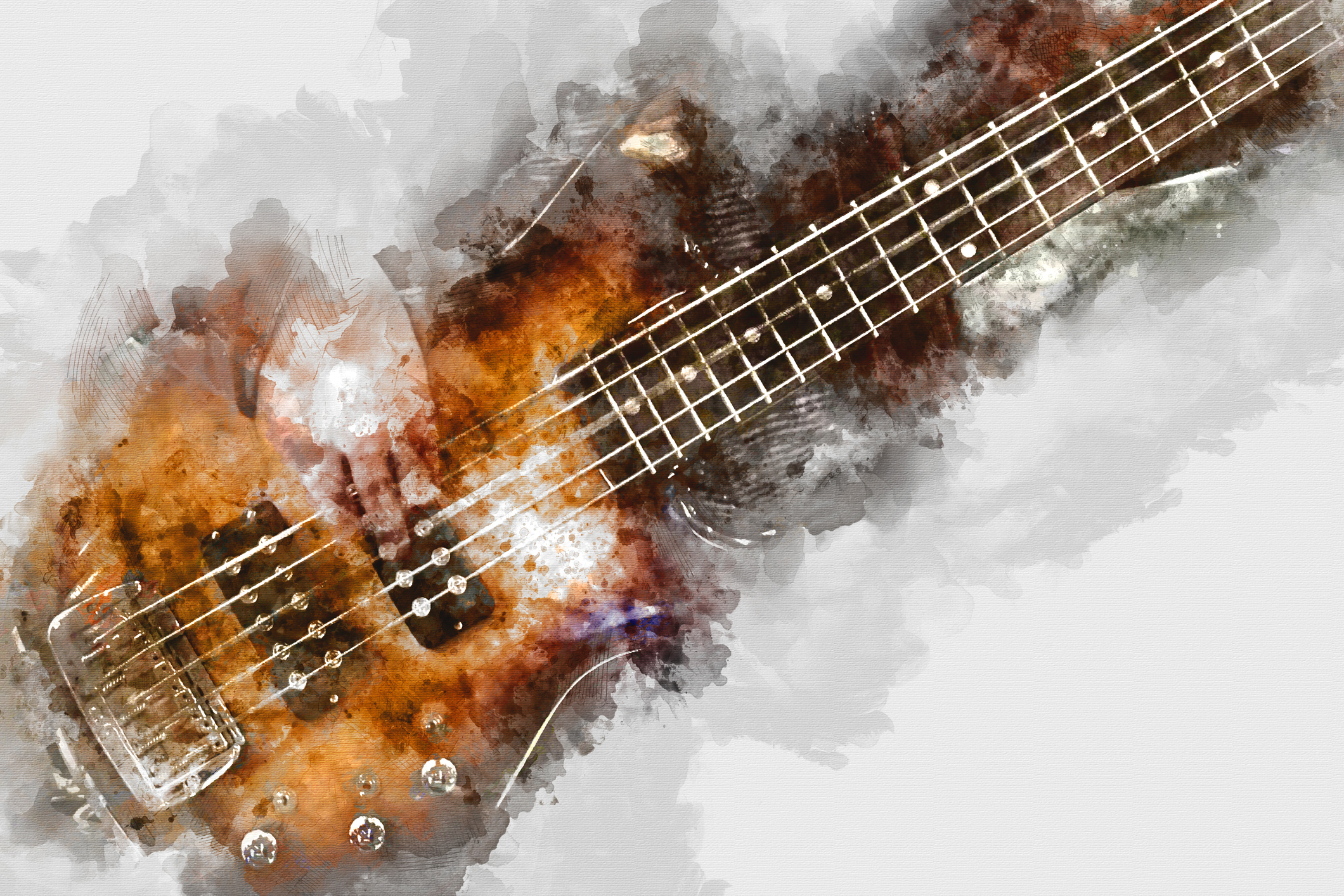 Abstract beautiful playing Guitar in the foreground on colorfiul Watercolor painting background and Digital illustration brush to art.