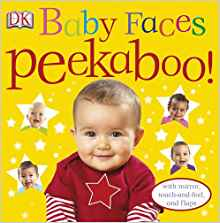 Baby Faces Peekaboo! jacket cover of a small baby with a red shirt with a star on it, surrounded by stars with babies' faces in them, all on a yellow background.