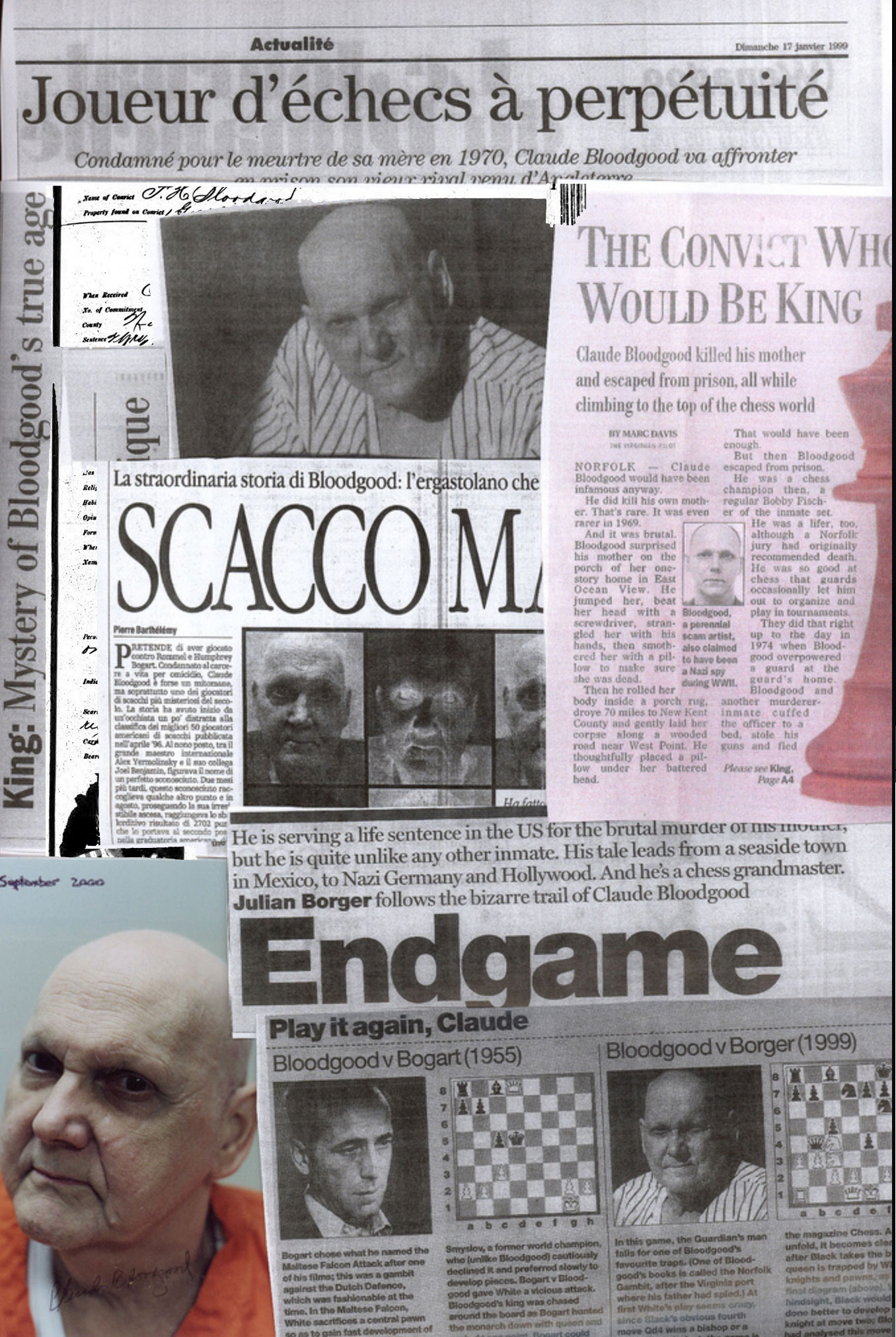 A Collage of Newspaper Articles and Photos of Claude F. Bloodgood