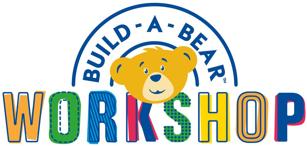 Build a Bear Workshop logo with cartoon bear and rainbow colored words.