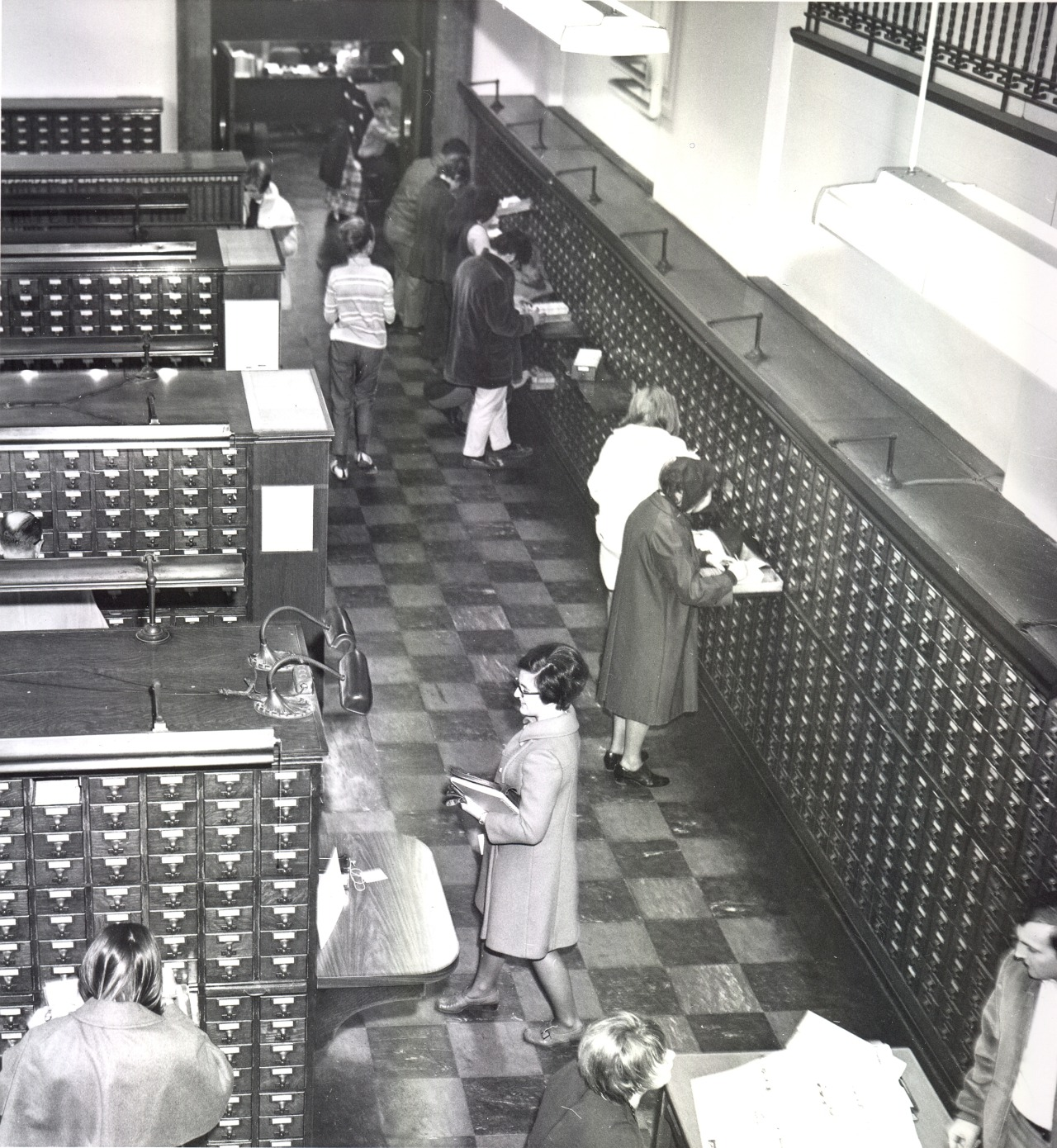 Black and white photograph of the Public Catalog room in 1969
