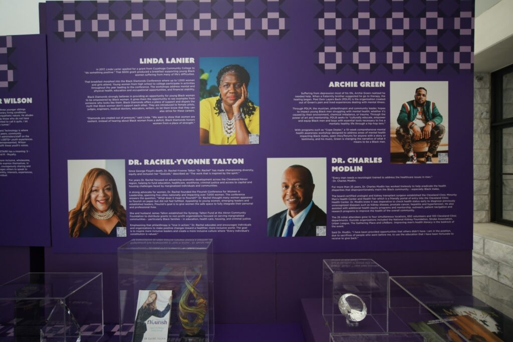 Wall showing honorees and memorabilia