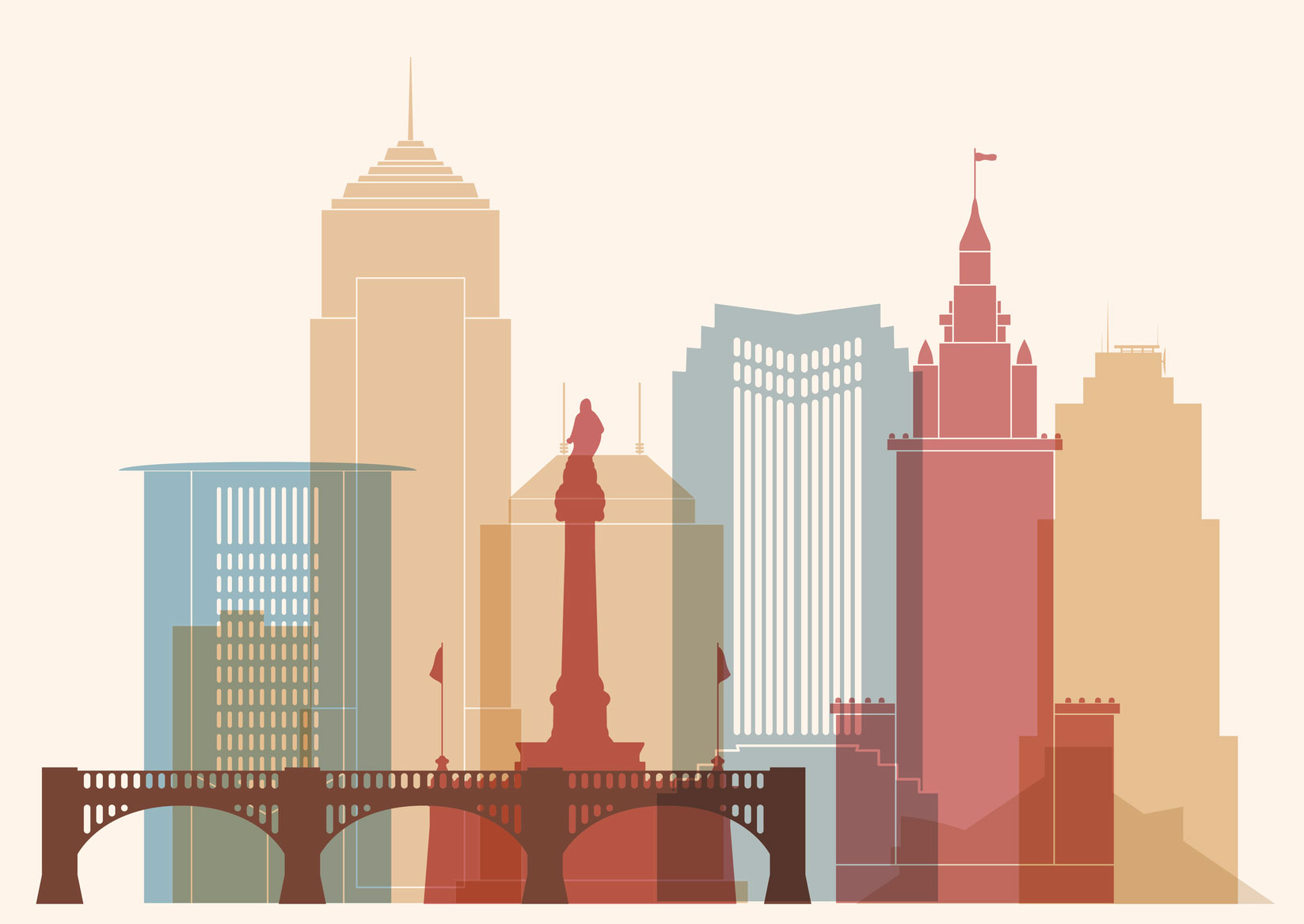 multicolored line art illustration of Cleveland skyline