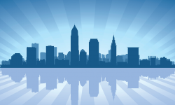 Cleveland, Ohio, illustrated skyline, in blue gradients