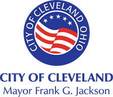 City of Clevealnd Mayor Frang G. Jackson - circular graphic with red, white and blue stripes and five stars