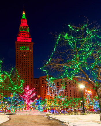 Downtown Cleveland decorated in holiday lights.