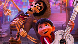 Skeleton and boy dancing.