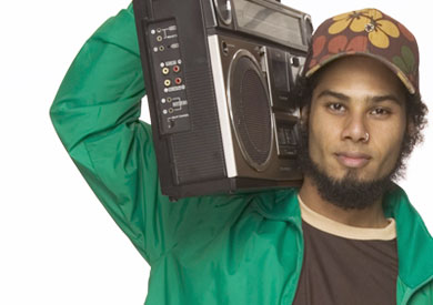 Man holding a boom box