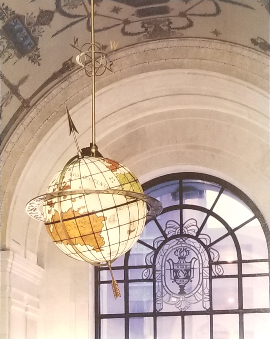 Terrestrial Globe hanging from the ceiling above the entrance to Main Library.