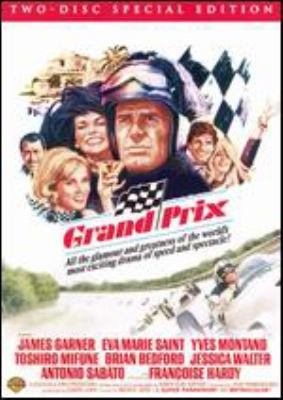 Movie poster for Grand Prix. Cartoonish drawing of a man in a helmet and women behind him laughing.