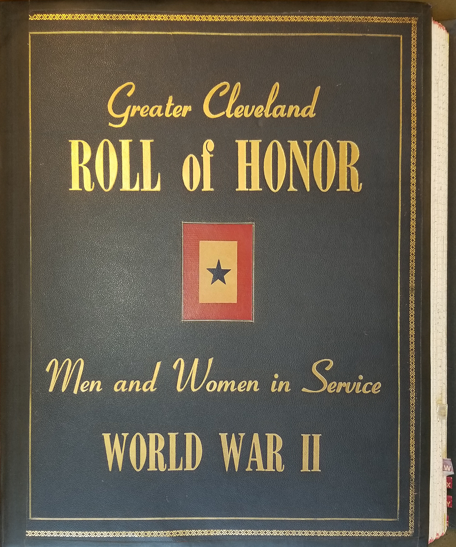 Roll of Honor (book jacket with gold letters on black leather-like fabric).