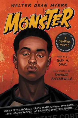 Monster by Walter Dean Myers (jacket cover). Image of a young man in glasses looking down, his lips pursed as if in thought.