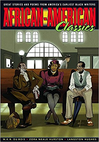 African-American Classics edited by Tom Pomplun and Lance Tooks - Jacket cover with image of three men sitting on a bench in a large room with windows, such as a bus or train station.
