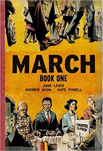 March: Book One & March: Book Two by John Lewis and Andrew Aydin (jacket cover) A number of people sitting at a diner counter.