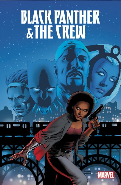 Black Panther & The Crew 1: We Are the Streets by Ta-Nehisi Coates & Yona Harvey (jacket cover) a woman with a gun crouching, with large faces people and aliens behind her.