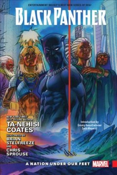 Black Panther: A Nation Under Our Feet: Book 1 by Ta-Nehisi Coates (jacket cover). A muscular superhero in a tight dark costume and mask, resembling Batman, and others in the background, with a laser shootin from above into the floor.