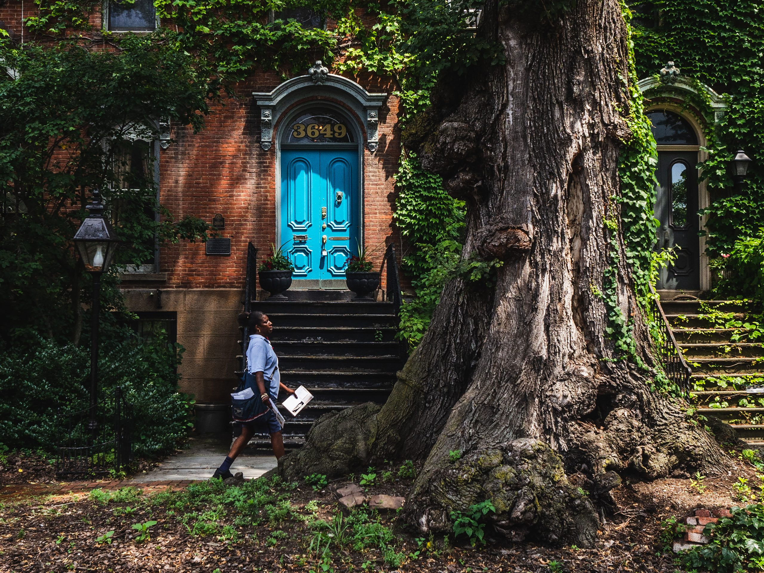 Female mail carrier walking down treelined street, passing a brownstone with a bright blue door