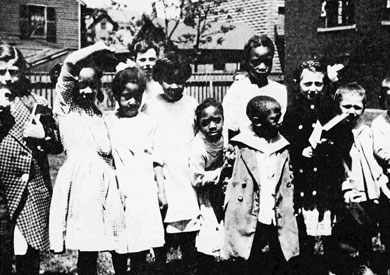 Children outside Sterling Branch Library c 1920 Archives, Cleveland Public Library
