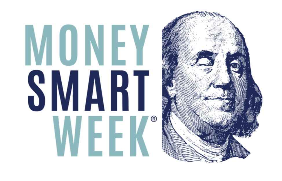 Money Smart Week title and portrait of Benjamin Franklin