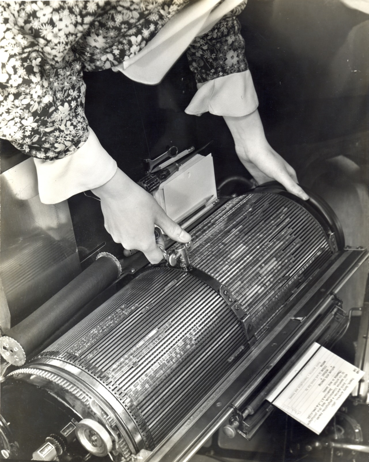 The Library's multigraph, an early copy machine that reproduced letters that looked like they were typewritten, used for catalog cards. May, 1937.