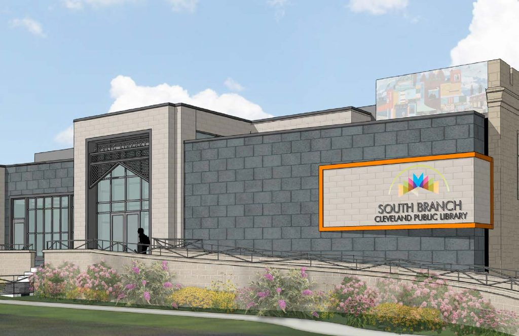 Sounth Branch rendering showing new ADA complient entrance in the rear of the building