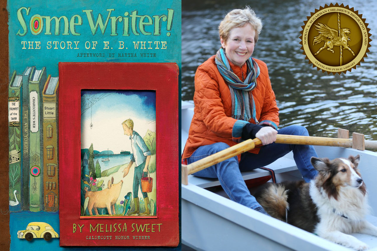 Melissa Sweet on a rowboat with a dog