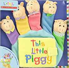 This Little Piggy, book jacket and package, five figer puppet pigs in different colored outfits.