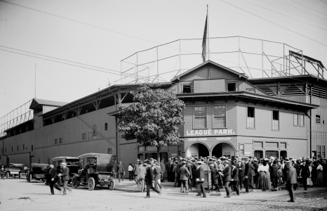 An image of League Park Ticket House prior to 1910 in an image from the Library of Congress. Click on image to see original.
