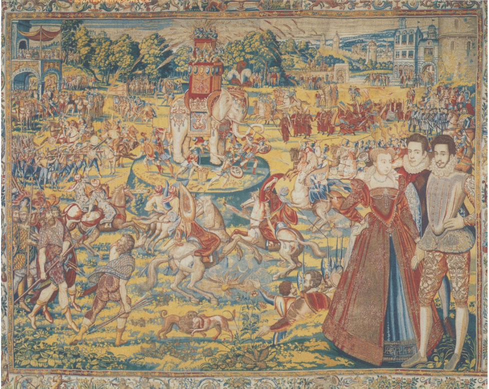 Tapestry depicted a decorated elephant on a pedestal, surrounded by many unrecognizable creatures, being viewed by the Queen and two men.